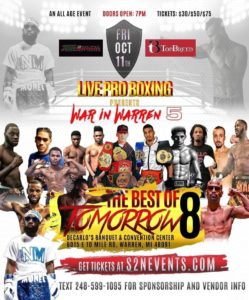 Detroit Boxing Professionals Hearns, Johnson, Ballard to Attend and Support 'Best of Tomorrow 8' in Warren, October 11
